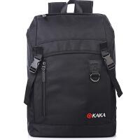 双肩电脑背包学生休闲书包旅行背包电脑包明星同款 纯黑 均码