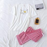 鸡蛋牛奶卡通情侣睡衣纯棉长裤套装春天韩版男女款家居服 女款鸡蛋 红色长裤 均码 - 女款