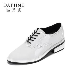 Daphne/达芙妮 vivifleurs春秋尖头系带平底单鞋布洛克