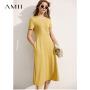 Amii法式气质修身连衣裙女2021年夏季新款黑色小裙子早春V领A字裙\预售8月2日发货