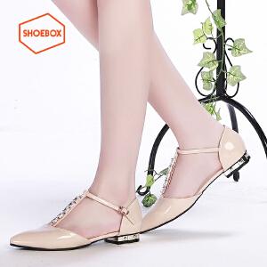 SHOEBOX/鞋柜春季休闲浅口单鞋 韩版尖头平跟女鞋