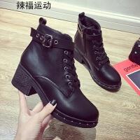 短靴女秋冬季新款加绒高跟粗跟女鞋百搭侧拉链英伦风马丁靴潮 黑色 内加绒