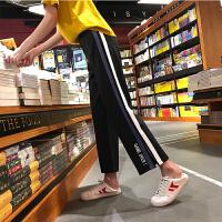 [2.5折价68.9元】唐狮裤子女秋冬高腰运动裤女宽松新款阔腿裤黑色