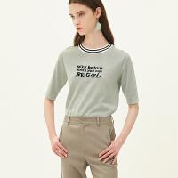 红袖/HOPESHOW撞色字母圆领套头短袖针织衫