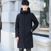 冬季中长款加厚羽绒服男韩版修身纯色白鸭绒男士外套潮流保暖大衣 黑色