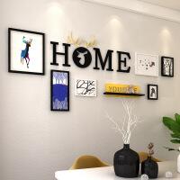 北欧创意字母照片墙画框组合客厅沙发背景画酒店个性墙面挂件