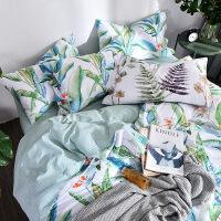 家纺田园风小清新纯棉床上用品四件套全棉1.8m2.0双人床单被子被套