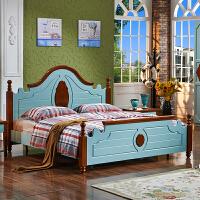 尚满 地中海风格卧室家具 边框实木单双人床 1.5/1.8米婚床 清新阳光 双色拼接实木床