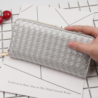 七夕礼物工厂直销新款休闲韩版女士零钱包 多功能手拿包编织纹拉链手机包 银色