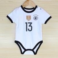 新款宝宝婴儿运动足球服哈衣爬服短袖连体衣爬爬服小童装速干排汗透气舒适 利物浦 85CM(95码 身高75-80CM)