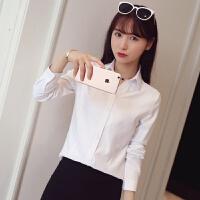 2018白衬衫女长袖职业正装衬衣V领显瘦工装工作服修身 白色