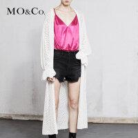 MOCO春季新品花边袖腰带渔网蕾丝开衫MA181CAR303 摩安珂