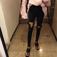 黑色大腿破洞烂牛仔裤女韩版高腰紧身弹力显瘦学生小脚九分乞丐裤