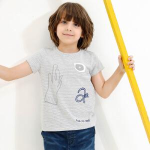 【尾品汇 5折直降】amii童装2017夏季新款男童圆领纯色T恤中大童卡通印花套头短袖
