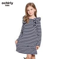 ochirly kids欧时力童装女童2017新款拼荷叶条纹连衣裙5J01084170