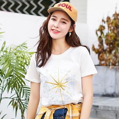 新品韩版夏季女装短袖T恤女百搭棉宽松半袖学生上衣衫