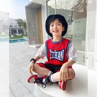 【2件2折】左西男童套装短袖夏装2021新款儿童中大童运动篮球两件套球衣潮品