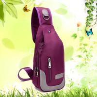 新款胸包女斜挎包帆布包女包休闲单肩包背包户外运动女士包小包包 紫色5031胸包