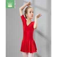 儿童舞蹈服幼儿练功服芭蕾舞裙暗扣开裆拉丁舞服装体操服考级服女 中国红