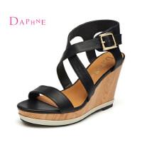 Daphne/达芙妮 夏时尚女鞋 超高坡跟防水台凉鞋 交叉绑带潮鞋