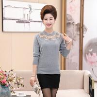 中年女针织衫打底衫2017秋冬装新款时尚长袖羊绒衫毛衣中老年女装