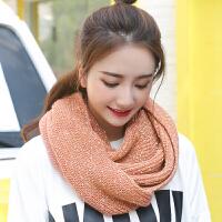 韩版冬季女士保暖毛线围脖 百搭夹色点点针织脖套加厚套头围巾