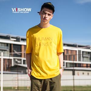 VIISHOW夏装新品圆领套头短袖T恤纯棉修身字母印花男士短t