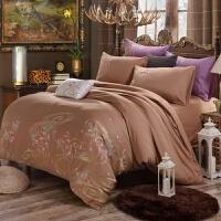 家纺四季新款纯棉刺绣四件套床上用品全棉被套床单