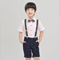 儿童礼服男童演出服生日表演开学校服 花童礼服背带裤套装韩版夏