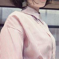 网络女主时尚斜领竖条纹宽松显瘦衬衫+高腰洗水牛仔裙A字裙套装