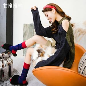 七格格毛衣女装春装新款韩版长袖宽松套头学生显瘦性感露肩针织衫潮