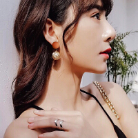 珍珠圆球耳环韩国个性网红潮人气质女耳钉冷淡风短款精致小耳坠 主图款