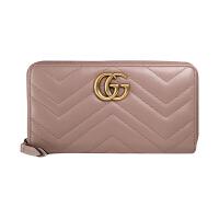 【网易考拉】GUCCI 古驰 女士 Marmont 女士V型绗缝金属双G拉链式长款钱包 粉色