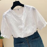 白色蕾丝上衣女2018新款韩版漏锁骨V领镂空洋气雪纺小衫 白色