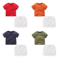 男童夏装短裤子套装婴儿短袖t恤1岁6个月9宝宝衣服