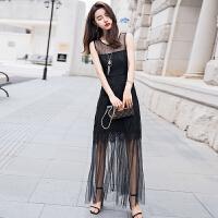 蕾丝连衣裙女2018夏新款性感蕾丝拼接修身显瘦时尚沙滩长裙送项链