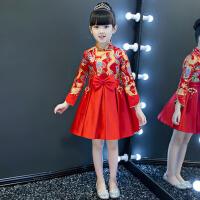 复古女孩演出服秋冬 儿童礼服公主裙女童旗袍裙花童礼服蓬蓬裙中式 红 色