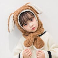 宝宝帽子冬护耳帽儿童围巾围脖一体帽兔耳朵可爱保暖超萌