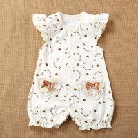 婴儿衣服夏季童装新品 新生儿连体衣短袖爬服 天然彩棉宝宝哈衣