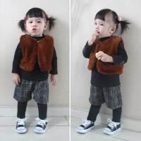 女童套装秋冬仿皮草马甲坎肩外套+打底衫宝宝潮款韩版时髦两件套