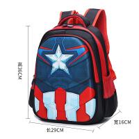 【特惠】2019优选儿童书包小学生1-3年级男孩幼儿园美国队长双肩包蜘蛛侠防水背包 3D美国队长 1到3年级 中号