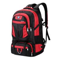 背包男双肩包70升大容量旅行包女行李包防水徒步运动包户外登山包 红色 70升无隔层