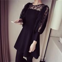 秋季新款大码女装显瘦胖妹妹长袖上衣女宽松中长款蕾丝打底衫 黑色
