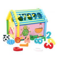 木制拆装组合积木 数字形状认知智慧屋 儿童益智早教玩具