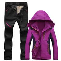 户外冬季冲锋衣套装女 三合一两件套冲锋衣裤加绒加厚防水登山服