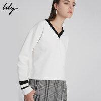 【每满200减100】Lily2018秋新款女装时尚蕾丝拼接针织衫黑白套头衫118120B8770