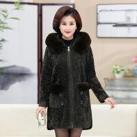 中老年女装聚酯高贵大衣单件厚开衫宽松舒适修身纯色气质简约韩版潮流