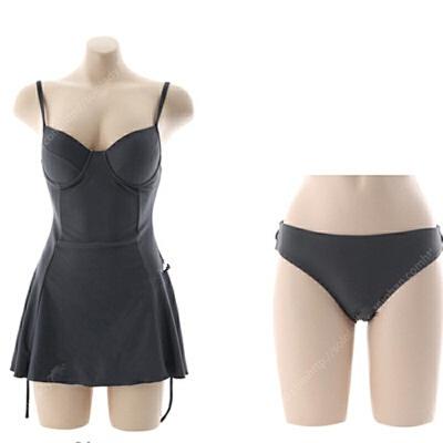 温泉泳装女保守小胸聚拢小清新显瘦性感遮肚裙式连体游泳衣女