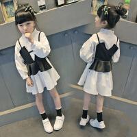 童装白裙子女童长袖连衣裙宽松马甲儿童韩版中大童春装新款