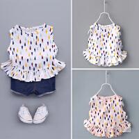 小童装夏季宝宝无袖荷叶边娃娃衫上衣梭织纯棉婴幼儿女童背心裙衫